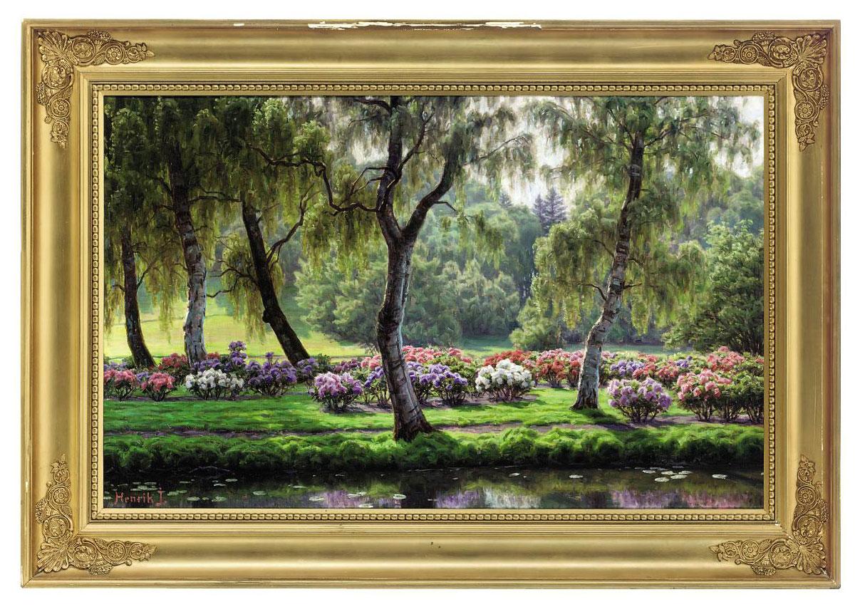 Hydrangeas along a riverbank