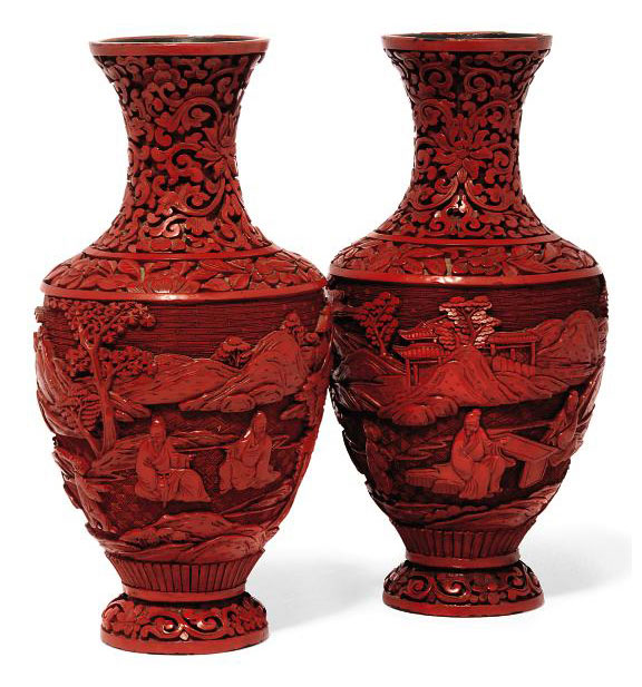 A Pair Of Chinese Cinnabar Lacquer Vases Circa 1900 Landscape