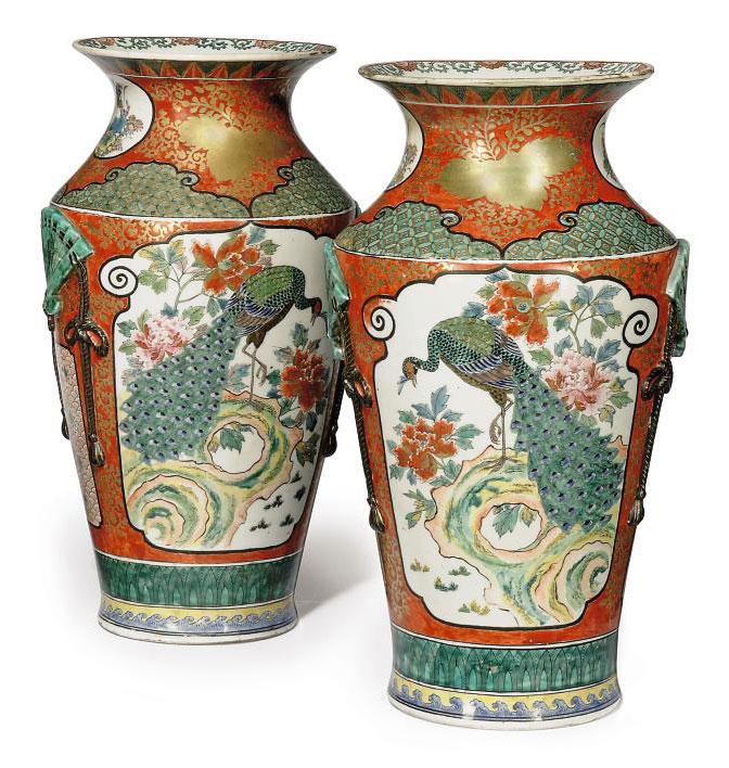 A Pair Of Japanese Kutani Vases Meiji Period 1868 1912 Figural