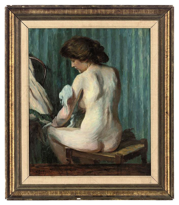 A nude at her toilet