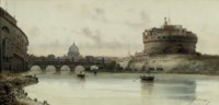 The Castel Sant'Angelo, Rome; and The fountain at the Villa Borghese, Rome