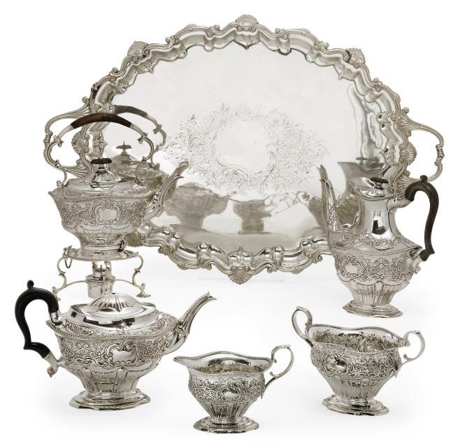 A LATE VICTORIAN FIVE-PIECE SILVER TEA AND COFFEE SERVICE