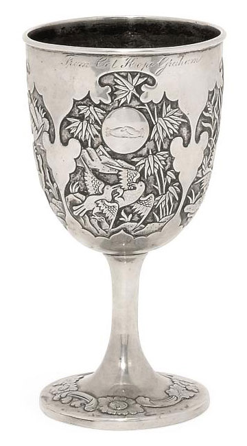 A CHINESE EXPORT SILVER GOBLET OF MILITARY INTEREST