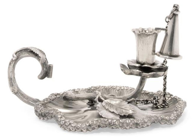 A VICTORIAN NATURALISTIC SILVER CHAMBERSTICK