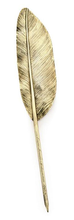 A GEORGE III SILVER-GILT ACADEMIC PRIZE QUILL PEN IN FORM OF A FEATHER