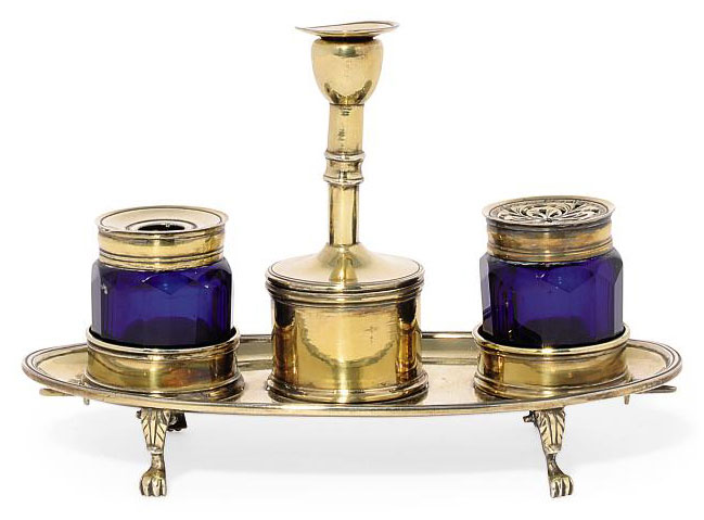 ROYAL SILVER:- A GEORGE III SILVER-GILT BOUDOIR INKSTAND