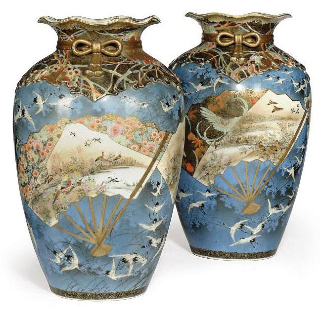 A Pair Of Japanese Kutani Vases Meiji Period 1868 1912 Late