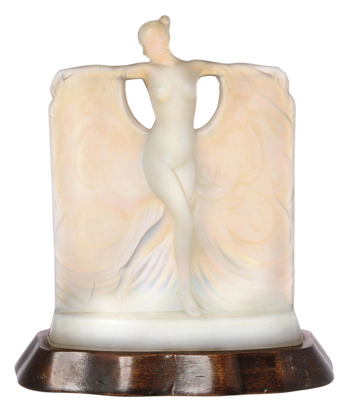 A SABINO SUZANNE OPALESCENT GLASS FIGURE MOUNTED WITH LIGHT FITMENT