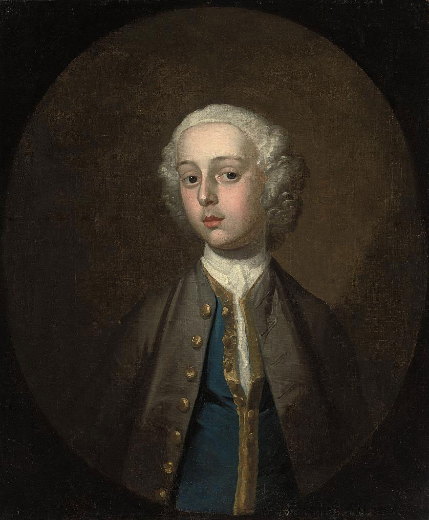 Portrait of a young boy, half-length, in a brown coat and blue waistcoat, in a feigned oval