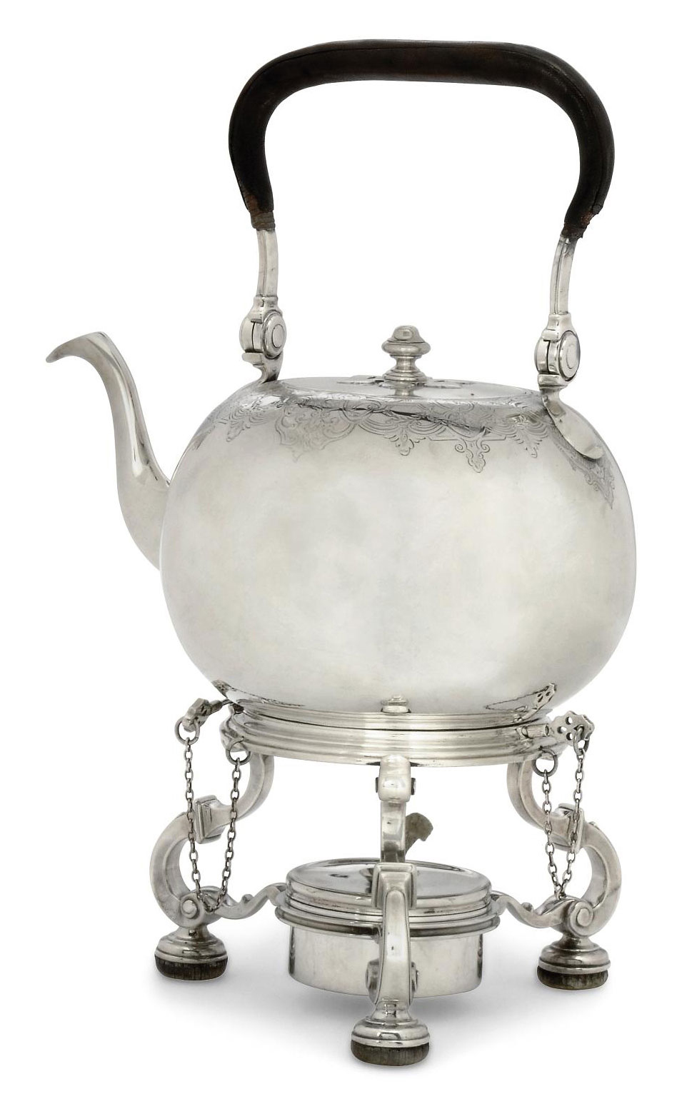 """A GEORGE I SILVER """"DUTY DODGER"""" KETTLE AND STAND"""