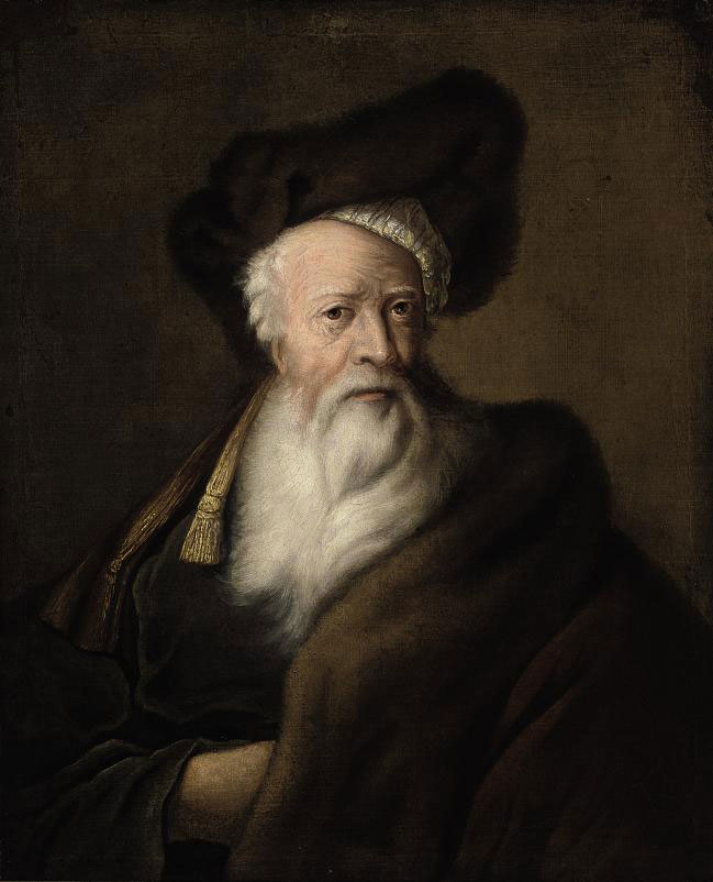 Portrait of a bearded man, bust-length, in a fur hat and fur trimmed brown coat