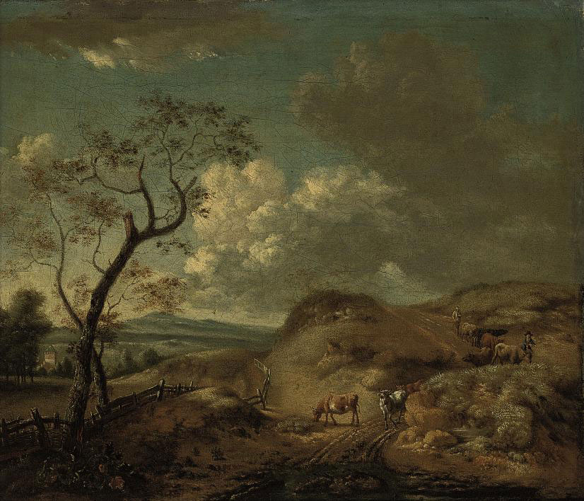 An extensive landscape with cattle and drovers on a sandy track, a tower and a mountain range beyond