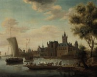 A coastal landscape with shipping beside a city
