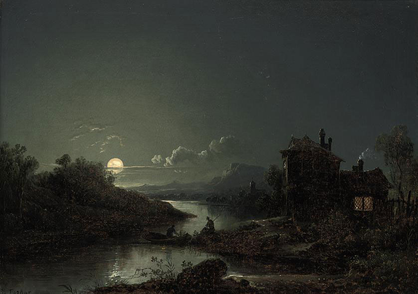 A moonlit river landscape with figures fishing and a cottage on the shore