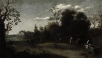 A wooded Italianate landscape with washerwomen in the foreground