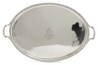 A GEORGE III SILVER OVAL TWO-HANDLED TRAY