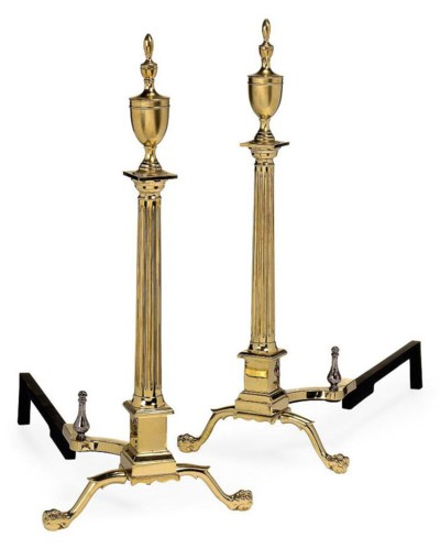 A PAIR OF BRASS ANDIRONS