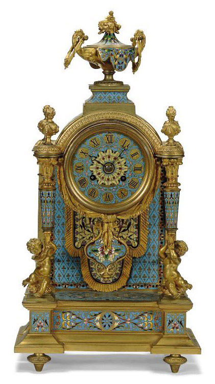 A FRENCH CHAMPLEVE ENAMEL AND ORMOLU-MOUNTED STRIKING MANTEL CLOCK