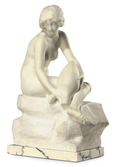 A MARBLE SCULPTURE OF A NUDE S