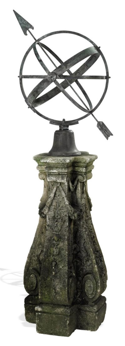 A BRONZE ARMILLARY SPHERE AND