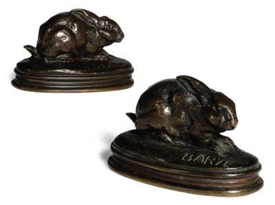 TWO FRENCH BRONZE STUDIES OF R