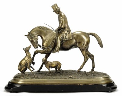 A BRONZE GROUP OF A HORSE AND