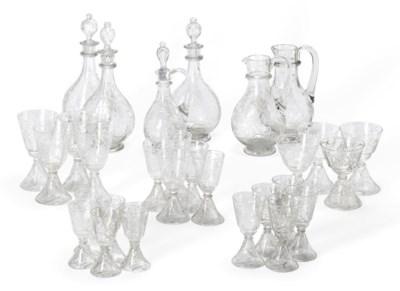 A CUT-GLASS PART TABLE-SERVICE