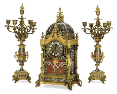 A FRENCH ORMOLU AND CHAMPLEVÉ