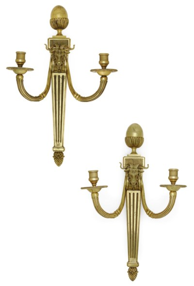 A PAIR OF LARGE GILT-BRONZE TW
