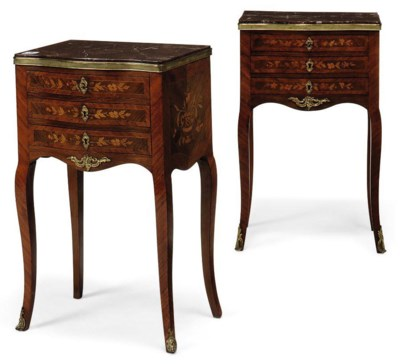 A PAIR OF FRENCH MARQUETRY SER