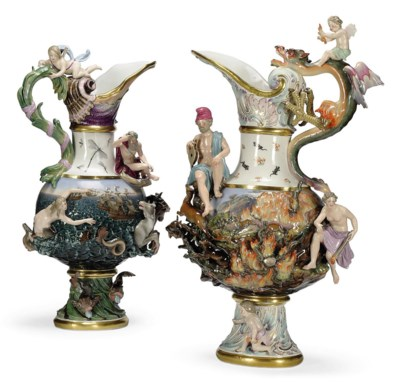 TWO MEISSEN EWERS EMBLEMATIC O