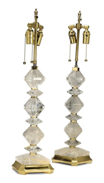 A PAIR OF ROCK-CRYSTAL TABLE L