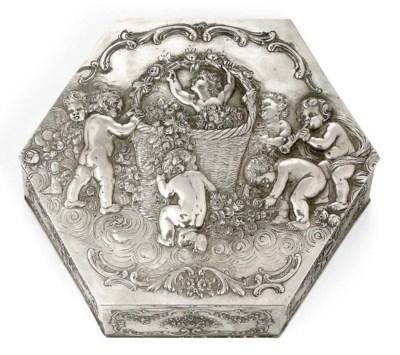 A GERMAN SILVER HEXAGONAL BOX