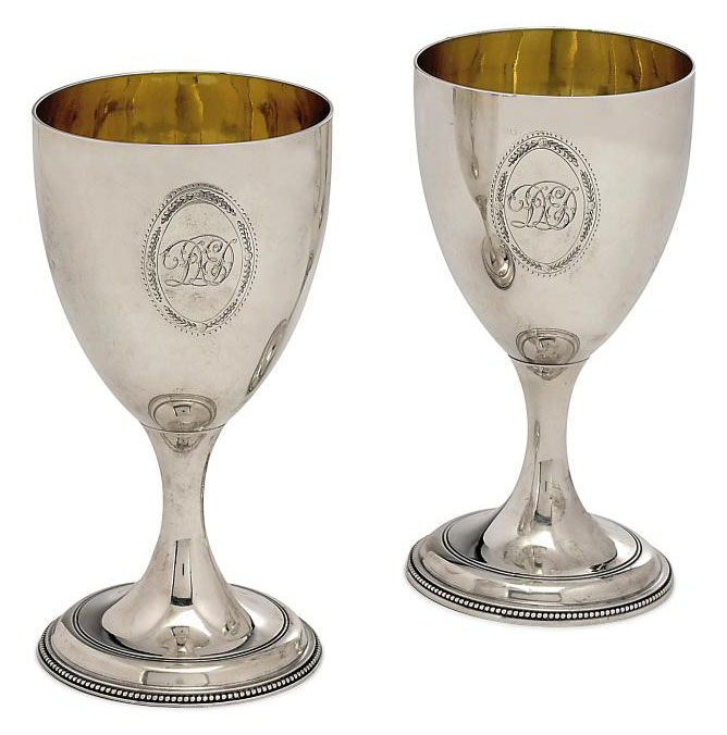 A PAIR OF GEORGE III SILVER GOBLETS