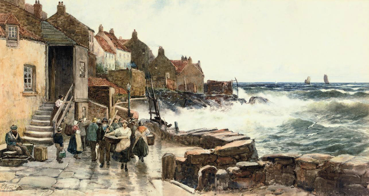 Fisherfolk with their catch in a Scottish port, an onshore breeze