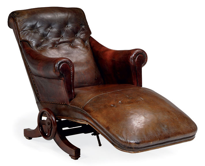 A FRENCH LEATHER-UPHOLSTERED A
