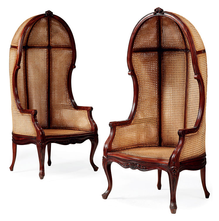 A PAIR OF CARVED MAHOGANY AND