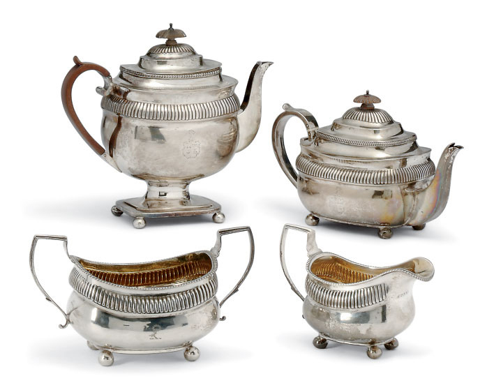 A MATCHED GEORGE III SILVER 4-PIECE TEA & COFFEE SET