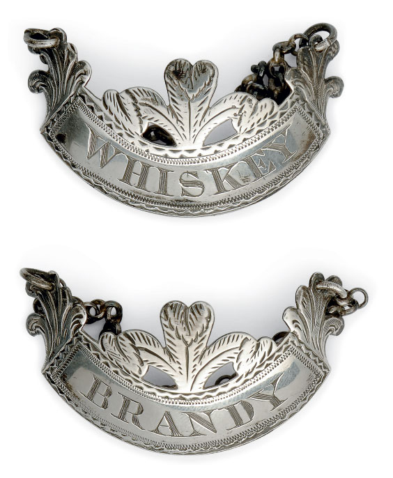 A PAIR OF GEORGE III SILVER WINE LABELS