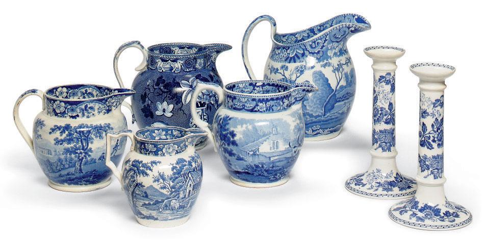 FIVE ENGLISH PEARLWARE BLUE AN