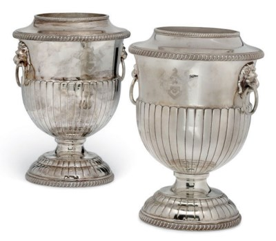 A PAIR OF ELECTROPLATED WINE C