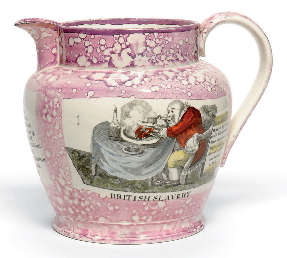 AN ENGLISH POTTERY PINK-LUSTRE OVIFORM JUG