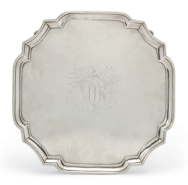 A GEORGE III SILVER SHAPED SQUARE SALVER