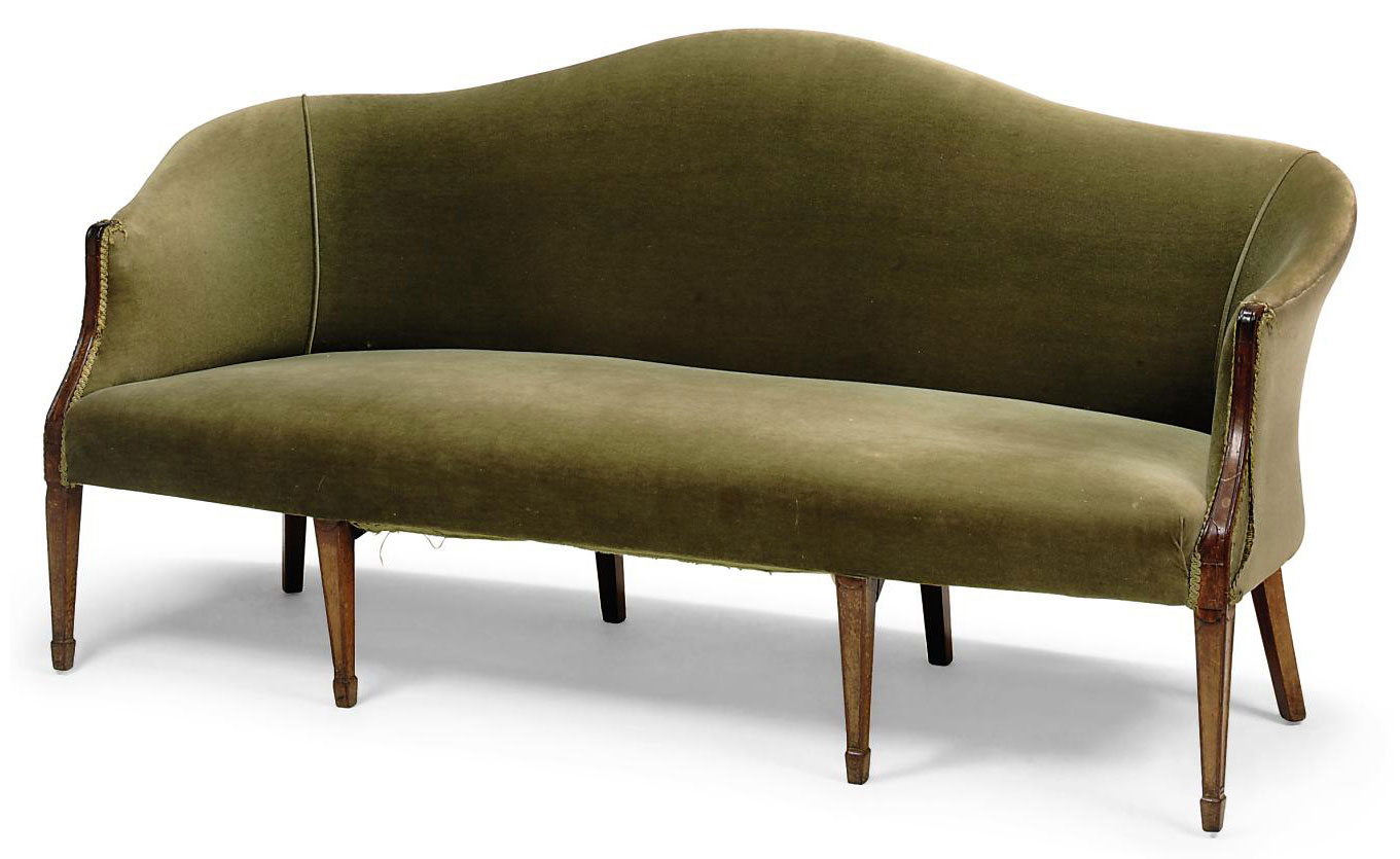 A GEORGE III MAHOGANY HUMP BACK SOFA
