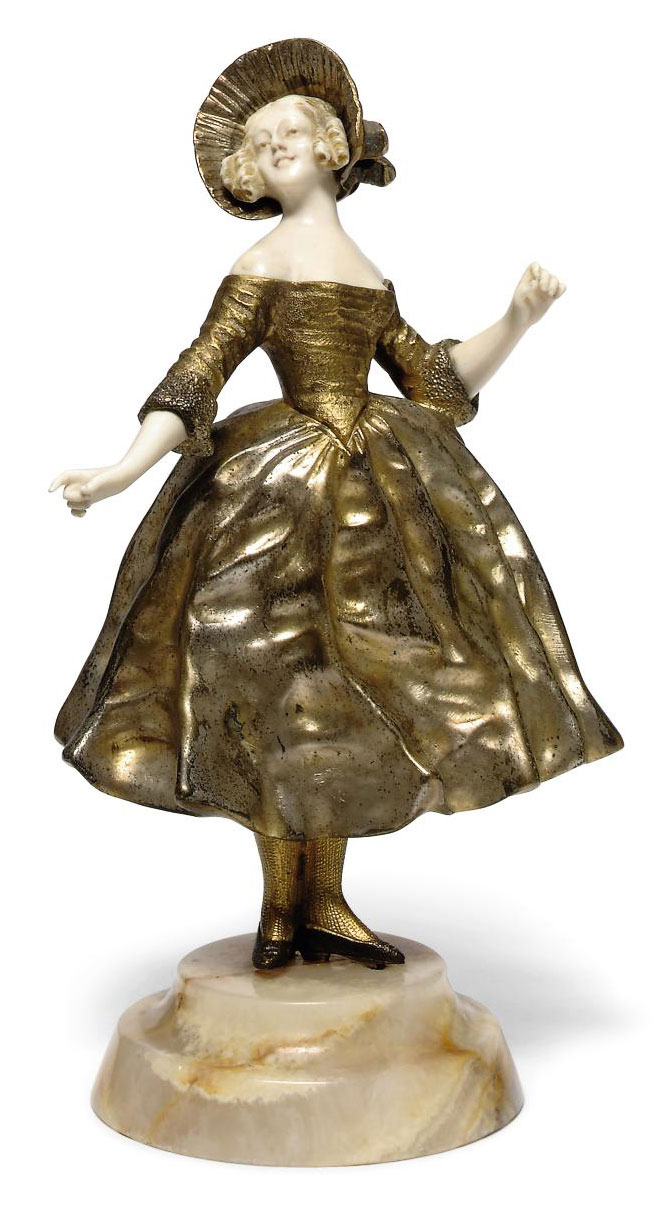 'THE POSE' A GILT AND COLD-PAINTED BRONZE AND IVORY FIGURE BY GEORGES OMERTH