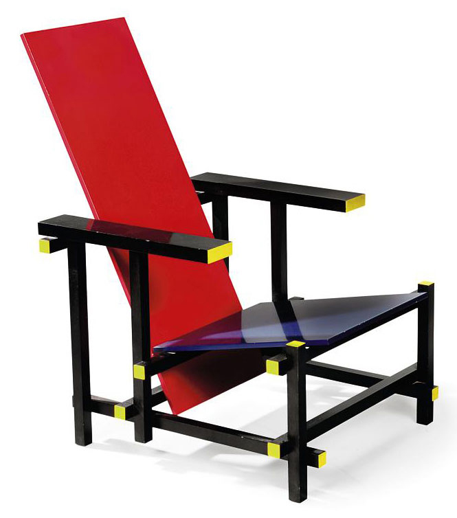 A GERRIT RIETVELD RED-BLUE ARMCHAIR DESIGNED 1922 ...