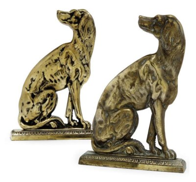 TWO CAST-BRASS DOOR-STOPS IN T