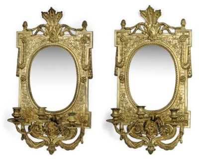 A PAIR OF GILT-BRONZE GIRANDOL