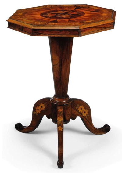 A MID-VICTORIAN ROSEWOOD AND F