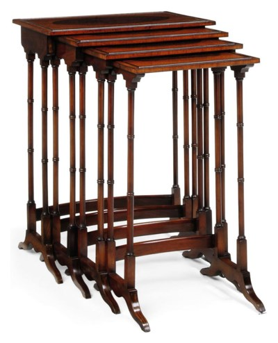 A SET OF MAHOGANY, AMBOYNA AND